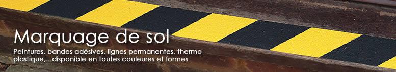 Marquage de sol, peintures, bandes adésives, lignes permanentes, thermoplastique